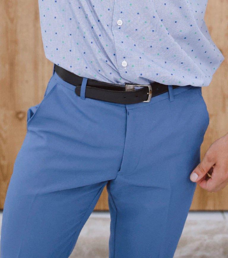 Calça social azul claro